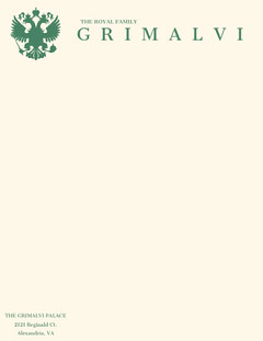 Green Royal Family Aristocrat Letterhead with Coat of Arms Family