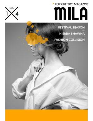 Orange and Black and White Pop Culture Magazine Cover with Model Portada de revista