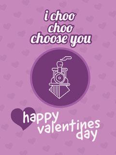 Violet and White Valentine's Day Card Valentine's Day