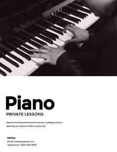 Black and White Piano Lesson Poster Play Poster