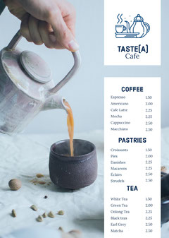 White With Fresh Tea Cafe Menu Coffee Menu