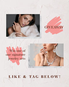 Pink Jewelry Like And Share Instagram Portrait  Giveaway