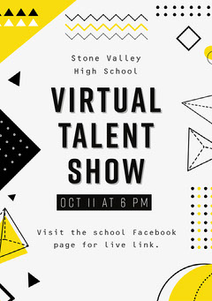 Yellow Black and Grey Geometric Talent Show A5 Flyer Teacher
