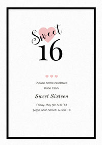 Pink and Black Sweet Sixteen Birthday Invitation Card with Hearts 誕生会の招待状