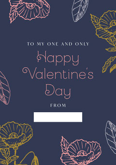 Rustic Floral valentines note Valentine's Day