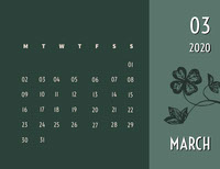 Green and White Calendar Card Calendar