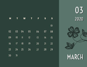 Green and White Calendar Card Månedskalender