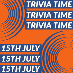 Orange Blue and White Trivia Time Instagram Graphic Cartazes de jogos