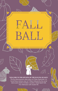 Purple and Yellow Autumn Dance Ball Poster Fall