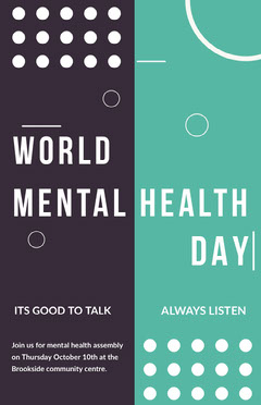 White Blue and Black World Mental Health Day Poster Awareness