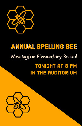 Black and Orange Annual Spelling Bee Poster Educator