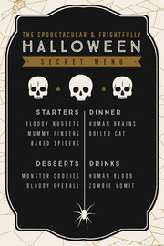 Black, White and Gold, Dark, Scary, Halloween Party Menu Festa di Halloween