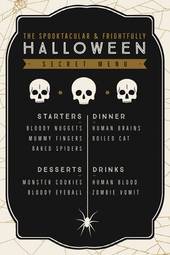 Black, White and Gold, Dark, Scary, Halloween Party Menu Halloween Party Menu