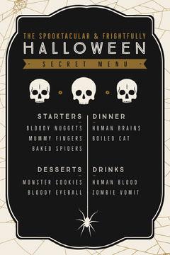 Halloween Spider Skull Party Menu Dinner Menu