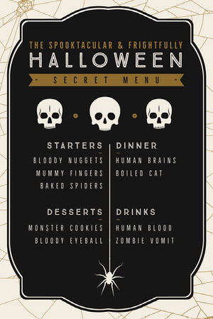 Black, White and Gold, Dark, Scary, Halloween Party Menu Halloween Party