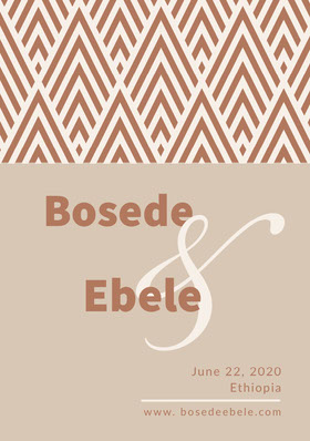 Brown African Style Save the Date Wedding Card with Pattern Save the date-kaart