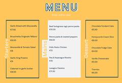 Yellow and White Landscape Format Restaurant Menu Dessert