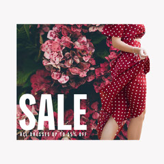 Red Flowers Field of Dreams IG Square Dress