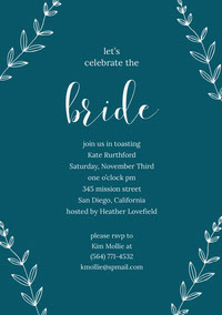 Blue Bridal Shower Invitation Card with Plants Invitation fête de la mariée