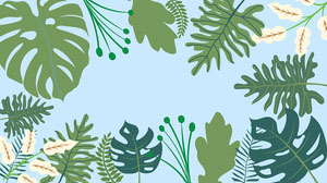 Green Tropical Leaves Zoom Background Social Post Presentation