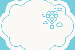 Blue Cloud Name Tag with Hot Air Balloon and Sky Balloon