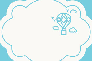 Blue Cloud Name Tag with Hot Air Balloon and Sky 네임택