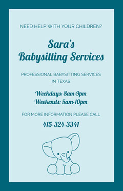 Blue Illustrated Babysitting Service Flyer with Elephant Blue