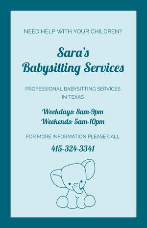 Sara's <BR>Babysitting Services Babysitting Flyer