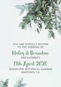 White and Green Foliage Wedding Invite Rustic Wedding Invitation