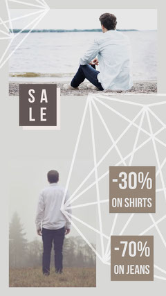 Grey and White Shop Sale Social Post Instagram Post