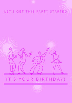 Pink Illustrated Happy Birthday Card with Dancing People Dance Flyer