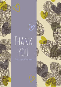 Violet and Grey Thank You Card Takkekort