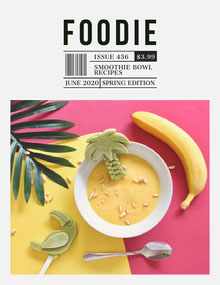 Yellow and Green Food Magazine Cover with Banana Smoothie Magazine Cover