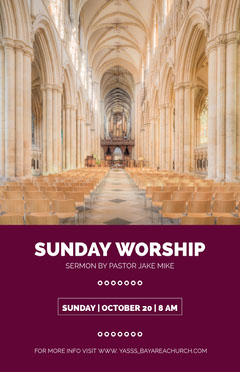Claret With Modern Interior Sunday Worship Flyer Sunday