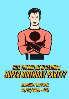 Blue Superhero Illustration Birthday Invitation Card Superhero