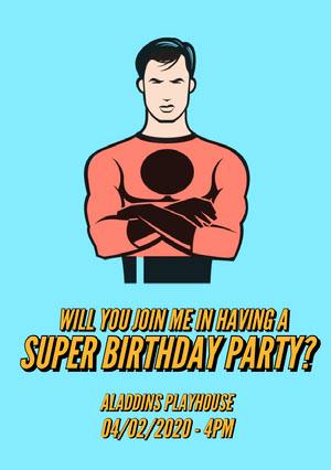 Blue Superhero Illustration Birthday Invitation Card Email Invitation