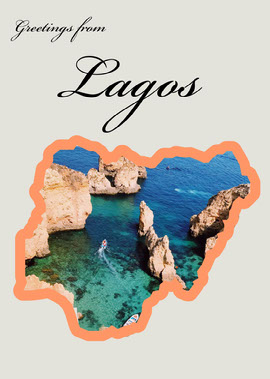 Lagos Nigeria Travel Postcard with Rock Formations in Sea Vykort