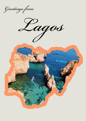 Lagos Nigeria Travel Postcard with Rock Formations in Sea Rejsepostkort