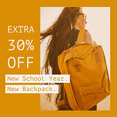 Brown and Yellow Warm Toned Backpack Instagram Post Ad New Year