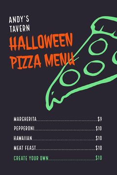 Green Slime Halloween Party Pizza Menu  Pizza