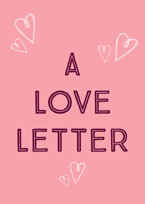 Pink Hearts and Typography Love Letter Card Tarjeta de San Valentín