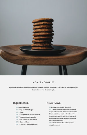 Minimalistic, Modern, Light Toned Cookie Recipe Instagram Portrait 조리법 카드