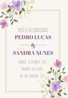 white and purple floral wedding cards Cartão de felicitações aos noivos
