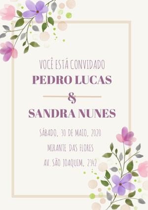 white and purple floral wedding cards Convite de casamento