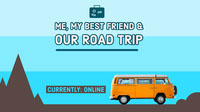 Road Trip Travel Twitch Banner with Orange Van Banner