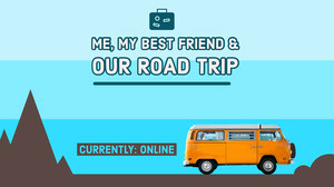 Road Trip Travel Twitch Banner with Orange Van 배너