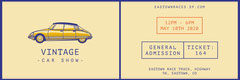 Yellow and Violet Vintage Car Show Ticket Car