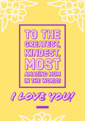 Yellow, White and Pink, Light Toned Mothers Day Card  Mother's Day Messages