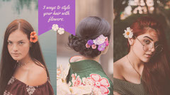 Warm Earthy Tones Flower Hairstyle Blog Post Graphic with Collage of Women Hair Salon
