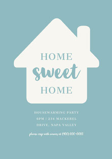 Blue and White Housewarming Party Invitation Invitation